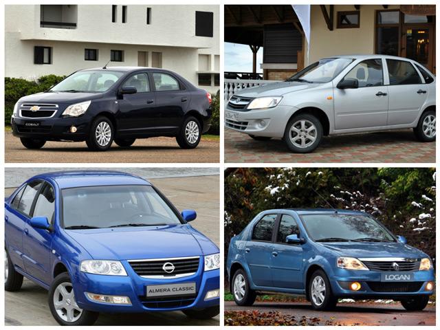 Сравнение автомобилей Chevrolet Cobalt, Nissan Almera, Renault Logan и Lada Granta