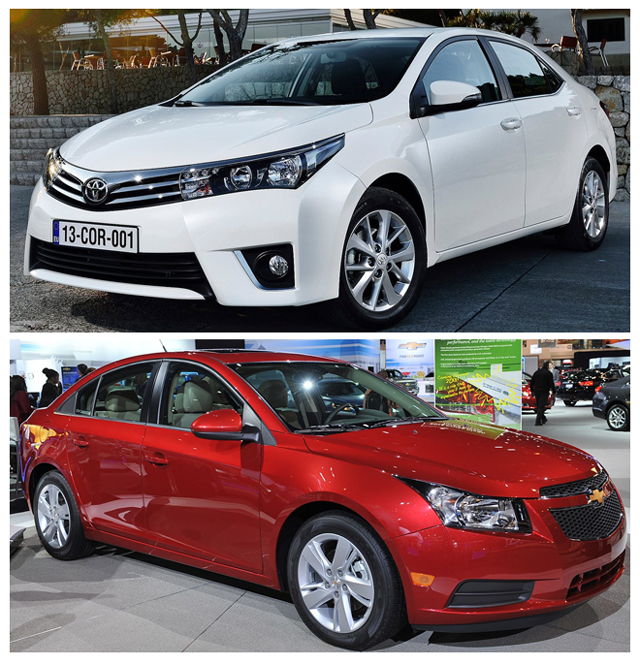 АвтомобилиToyota Corolla и Chevrolet Cruze - два седана, отлично зарекомендовавших себя на рынке