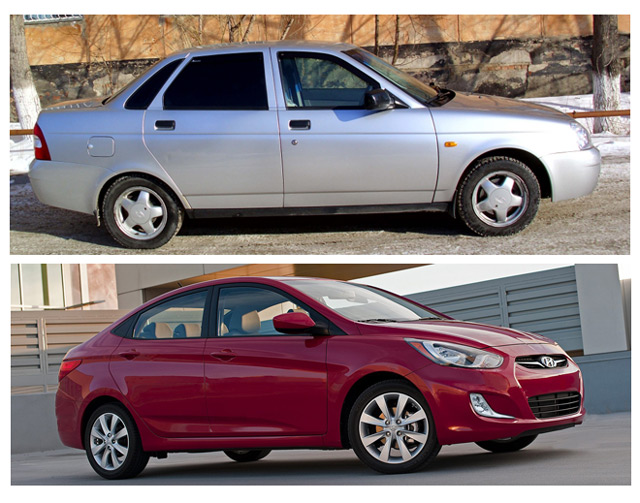 АвтомобилиLADA Priora и Hyundai Accent по причине ряда факторов стали конкурентами на российском рынке