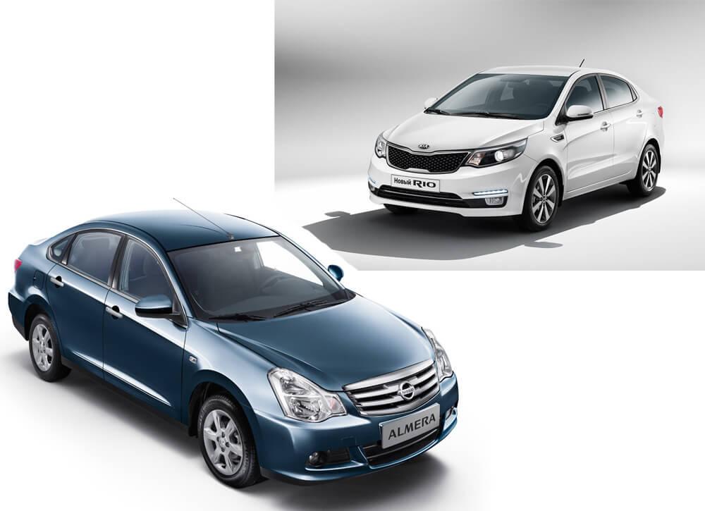 Kia Rio и Nissan Almera