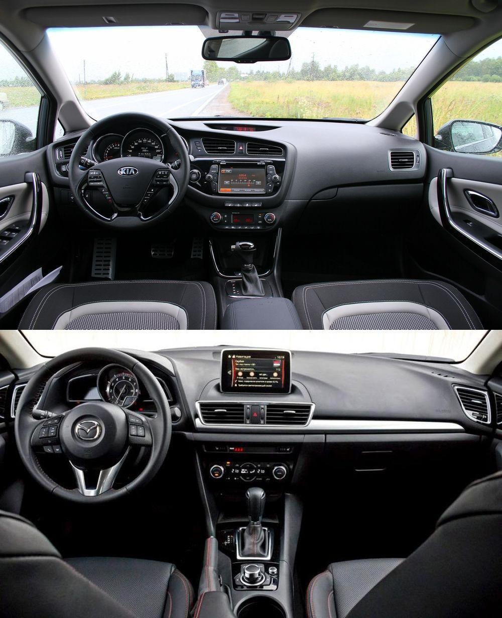 салон Kia Ceed и Mazda 3