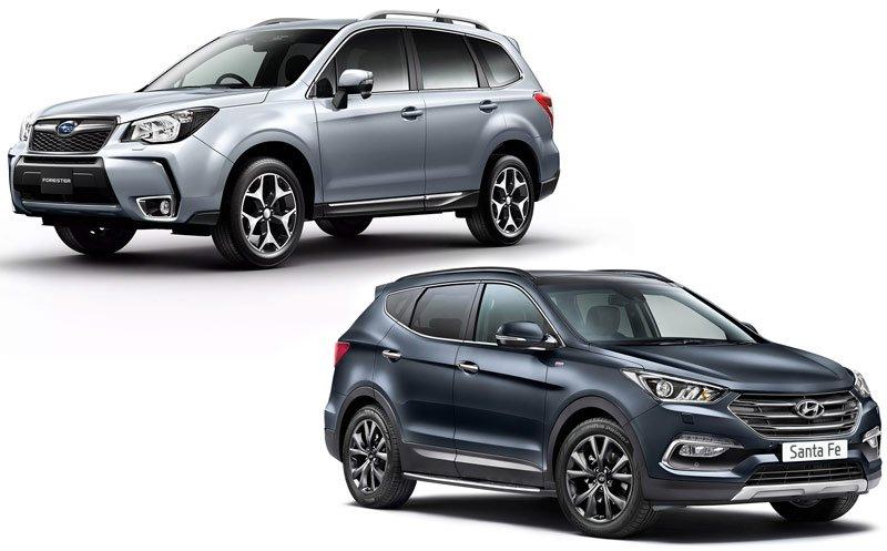 Subaru Forester и Hyundai Santa Fe