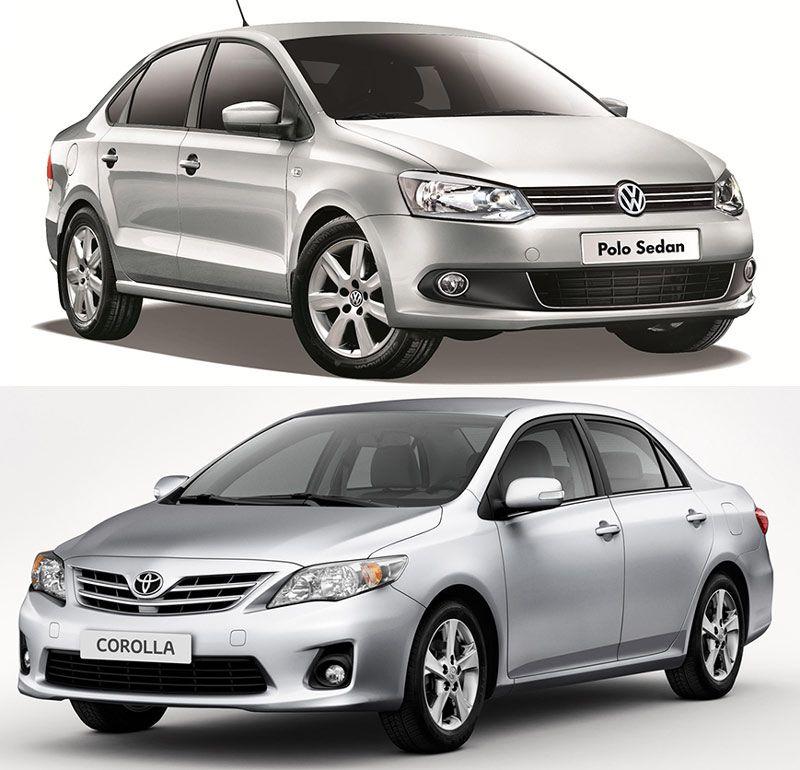 Volkswagen Polo Sedan и Toyota Corolla