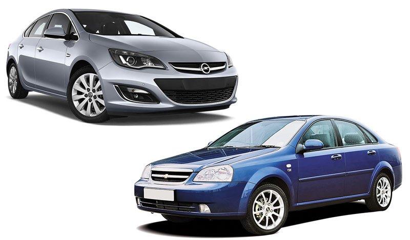 Автомобили Opel Astra и Chevrolet Lacetti