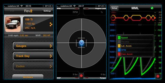 Интерфейс программы OBD-2 iPhone application
