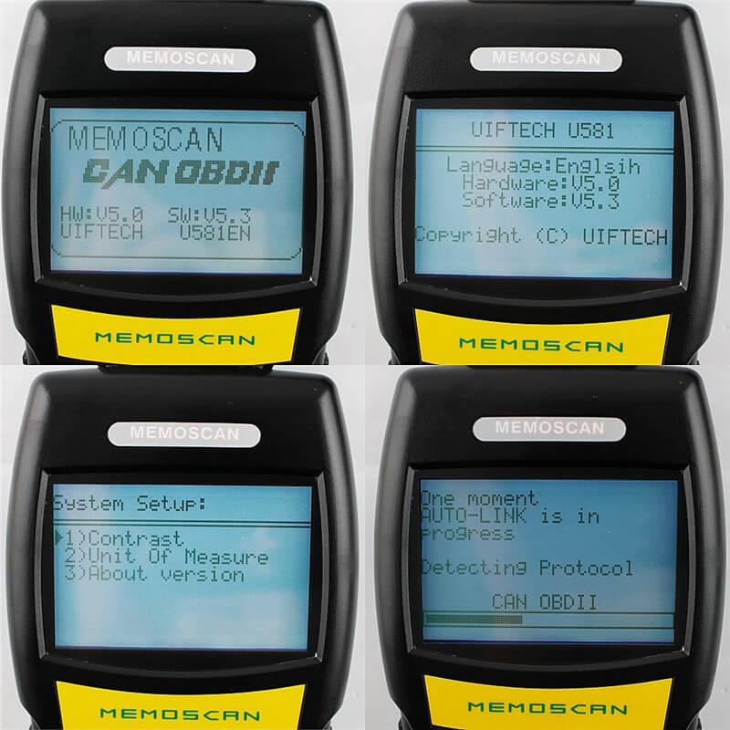 Экран OBD2 сканера Memoscan