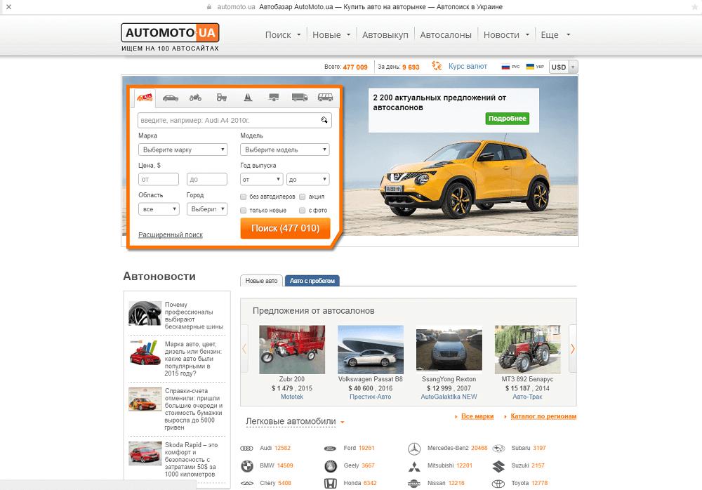 """Автомобильный сайт """"Automoto.ua"""""""