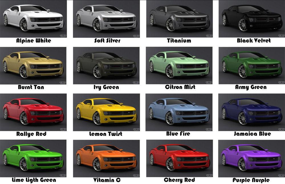 Цветовая гамма от автопроизводителя